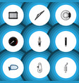 flat icon auto set of combustion metal tachometr vector image vector image