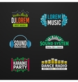 Fourth set music equalizer emblem on dark vector image vector image