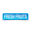 fresh fruits blue 3d realistic square isolated vector image vector image