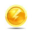 game coin with lightning game interface gold vector image vector image