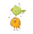 greeting card with sweet love birds cartoon vector image vector image