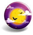 Halloween night on round badge vector image vector image