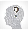 Hand drawn mans face with question mark vector image vector image