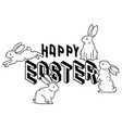 happy easter with cute bunny rabbits line art vect vector image vector image