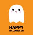 happy halloween flying ghost spirit showing vector image vector image