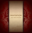 invitation card in red and gold with ornaments vector image vector image