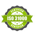 iso 31000 standard certificate badge - risk manage vector image vector image
