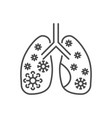 Lungs infection related thin line icon