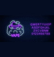 neon signboard vape shop or club with alphabet vector image vector image