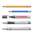 Pens pencils markers realistic set of vector image vector image
