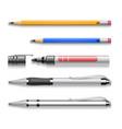 pens pencils markers realistic set vector image vector image