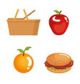 picnic day set icons vector image vector image