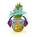 pineapple listen to music for summer concepts vector image vector image