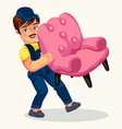 porter carrying pink arm-chair colorful poster vector image