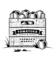 Retro crate of tomatoes black and white vector image vector image