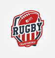rugby championship logo sport design vector image vector image