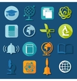 Set of education flat icons vector image