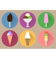 Six flat ice creams icons vector image vector image