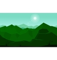 Slhouette of green mountain and sun vector image vector image
