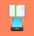Smartphone e-book reading concept Isometric design vector image