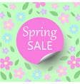 spring sale floral bacground with discount circle vector image