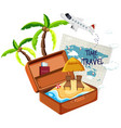 summer beach in the suitcase vector image vector image