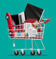 supermarket shopping cart with goods vector image