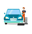 tire fitting expert at work flat vector image vector image