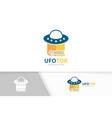 ufo and book logo combination spaceship vector image vector image
