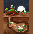 underground scene with ants in hole at night vector image