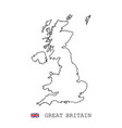 united kingdom great britain map line linear thin vector image vector image