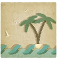 Vintage marine background with palm tree vector image vector image