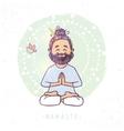 yoga man namaste vector image vector image