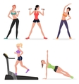 Fitness women female in gym set Healthy lifestyle vector image