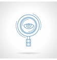 Blue flat line magnifier and eye icon vector image