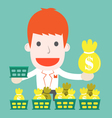 Businessman with invested basket cartoon business vector image