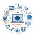 work online and teamwork in internet vector image