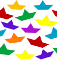Seamless with colored paper boats vector image