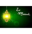 Eid Mubarak with illuminated lamp vector image