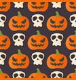 pumpkin head halloween seamless pattern background vector image