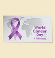 world cancer day theme postcard or banner with a vector image