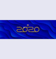 2020 new year logo on blue abstract background vector image vector image