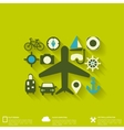 Abstract travel background with flat web icons vector image vector image