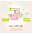 Baby Girl Cat Sleeping - Baby Shower Card vector image vector image