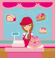 bakery store - saleswoman serving large pink cake vector image vector image