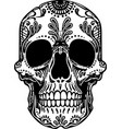 black and white tattoo mexican skull vector image