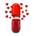 capsule with hearts inside vector image vector image