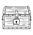 cartoon drawing of locked antique wooden treasure vector image