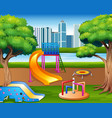 cartoon urban park kids playground in the nature b vector image