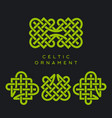 celtic ornament pattern linear green patrick day vector image